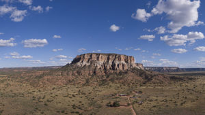 Aerial panorama, Dowa Yalanne near Black Rock (left) and Zuni (right), NM, on September 9, 2019.